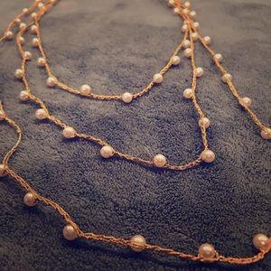 Vintage Gold Pearl Wrap Necklace